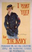 Vintage War Poster I want you for the Navy promotion for anyone enlisting, apply any recruiting station or postmaster
